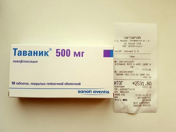 цена препарата таваник 500