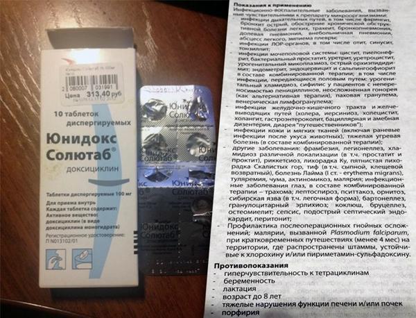 инструкция препарата юнидокс солютаб